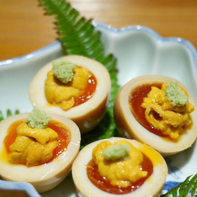 ウニのせ半熟卵
